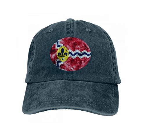 Men's Vintage Dad Cowboy Hat Adjustable Baseball Cap Saint Louis City Smoke Flag Missouri State United States AME Navy]()