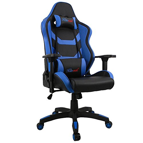 [Upgraded to Large Size] Kinsal Big and Tall Gaming Chair, Executive Computer Chair High-back Ergonomic Desk Chair Racing Chair, Leather Office Chair Including Headrest and Lumbar Support (Blue)