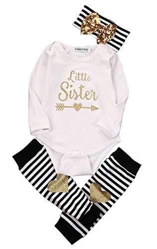 Newborn Baby Girls Romper Tops + Headband+Leg Warmer 3PCS Outfits Set Clothes (Label 70 / Age 0-6mos.) for $<!--$8.00-->