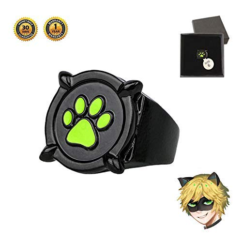 Cat Noir Ring Ladybug Necklace Earrings -Cat Noir Cosplay Ring Jewelry Costume Halloween Christmas Accessories Gifts
