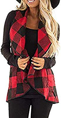 Womens Coats Winter Clearance!Besde Womens Fashion Casual Warm Lightweight Outwear Vest Plaid Sleeveless Lapel Open Front Cardigan Sherpa Jacket Pockets