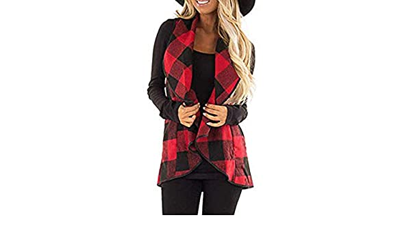 Amazon.com: Womens Coats Winter Clearance!Besde Womens Fashion Casual Warm Lightweight Outwear Vest Plaid Sleeveless Lapel Open Front Cardigan Sherpa ...