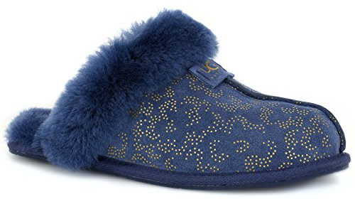 Uggs Womens Scuffette Ii Metallic Conifer Slipper Marine Suède