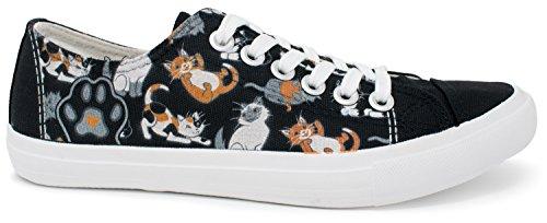 Cheshire Cat Shoes Adult (Kitten Sneakers   Cute, Fun Cat Mom Dad Lady Gym Tennis Shoe - Unisex Women Men - (Lowtop, US Men's 9, US Women's 11))