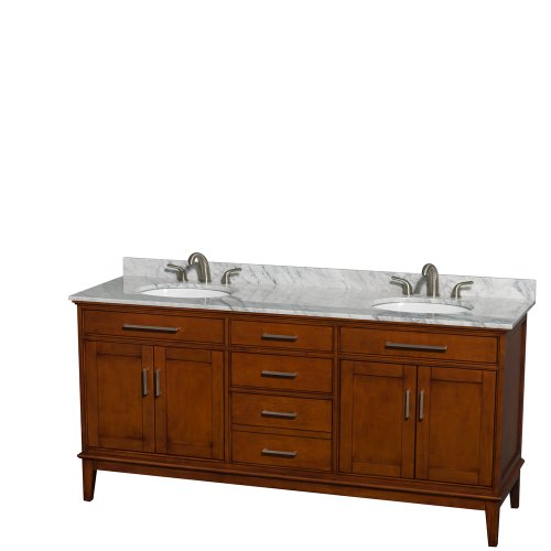 80%OFF Wyndham Collection Hatton 72 inch Double Bathroom Vanity in Light Chestnut, White Carrera Marble Countertop, Undermount Oval Sinks, and No Mirror