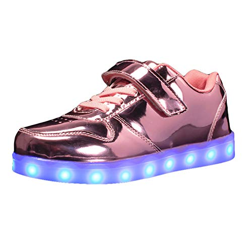 Soluo Kids LED Light Up Flashing Fashion Shoes Shiny Low-Top Sneakers for Boys and Girls Child Unisex