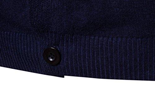 Slim Navy Collo Bottoni Fit Uomo Maglione Con Lunga Cardigan Manica V Maglia 6xxdPqwU