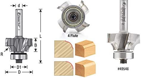 Amana Tool 49511 Carbide Tipped Corner Round 3//8 Radius x 1 Dia x 5//8 x 1//4 Shank w