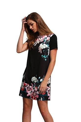 Floerns Women's Floral Print Short Sleeve Casual Top Shirt Dress Black M