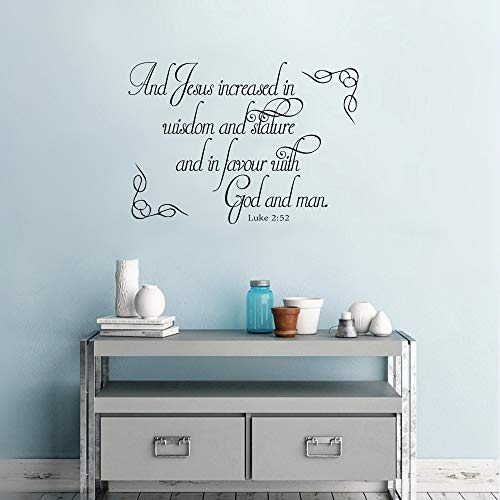 qeubar Wall Words Sayings Removable Lettering and Jesus Increased in Wisdom and Stature and in Favour with God and Man for Girls Room Baby Room
