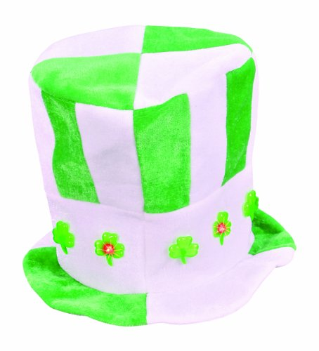 St Patricks Day Green Blinking LED Shamrock Costume Beer Mug Top Hat