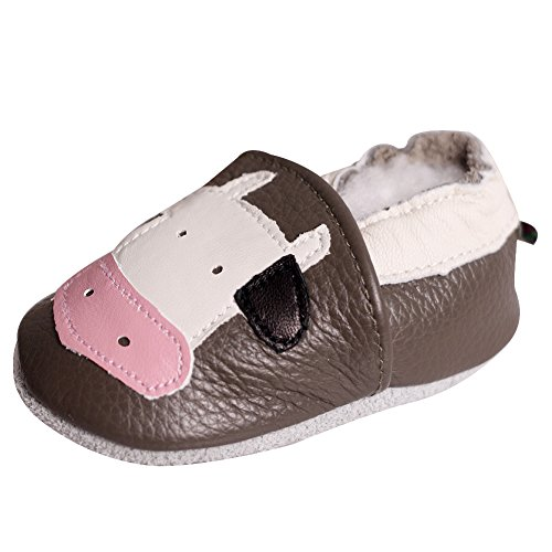 LSERVER Baby Boys Girls 0-2Yrs Months Toddlers Soft Sole Leather Infant Shoes Crib Shoes Light Brown Calf L Brown Baby Calf Leather Shoes