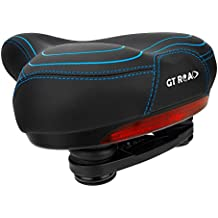 GT ROAD Bike Seat with Waterproof Safety Taillight, Memory Foam Padded Bicycle Saddle
