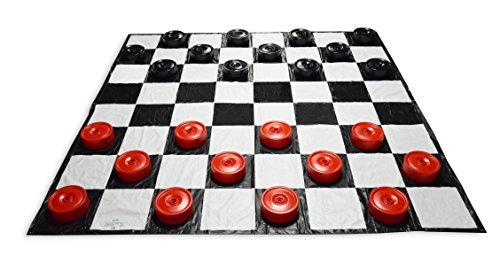 Garden Games Giant Checkers | 10'x10' Mat | Red and Black