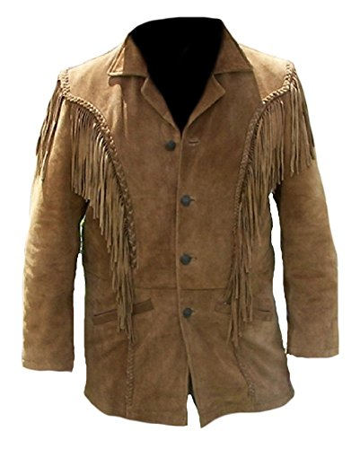 Classyak Men's Western Fringed Suede Coat Suede Brown X-Large