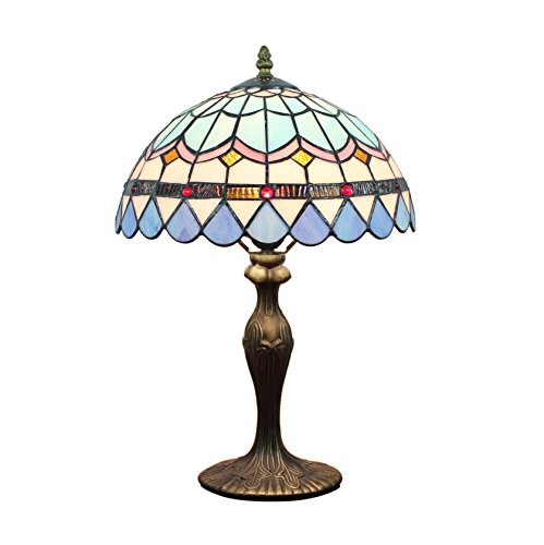 (12-Inch European Pastoral Style Stained Glass Mediterranean Series Feather Tiffany Table Lamp)