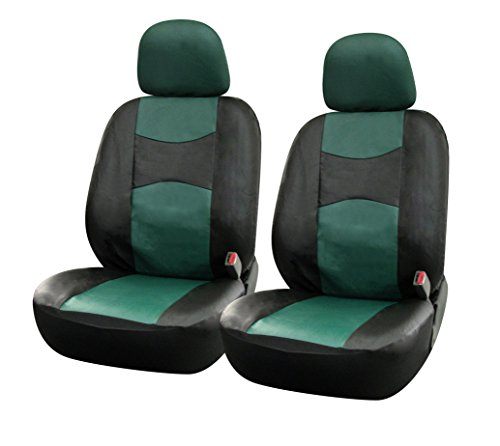 115911 Bk/Green-Leather Like 2 Front Car Seat Covers Compatible to Honda Accord Insight HR-V 2017-2007