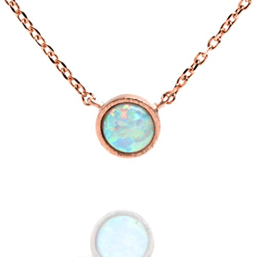 PAVOI 14K Rose Gold Plated Round Bezel Set White Opal Necklace 16-18