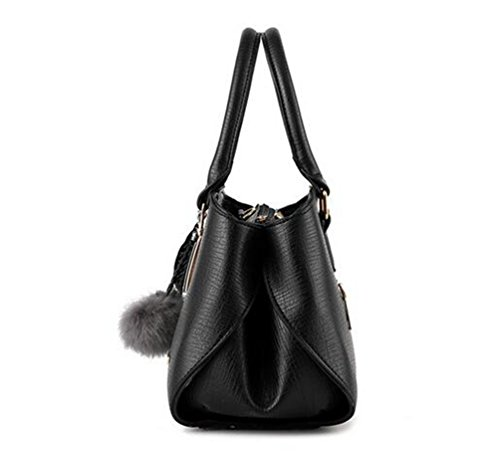 Mujers Work Yaancun Pu Black Tote Handbags Leather Lady Women Shoulder Handbag UxU46zS