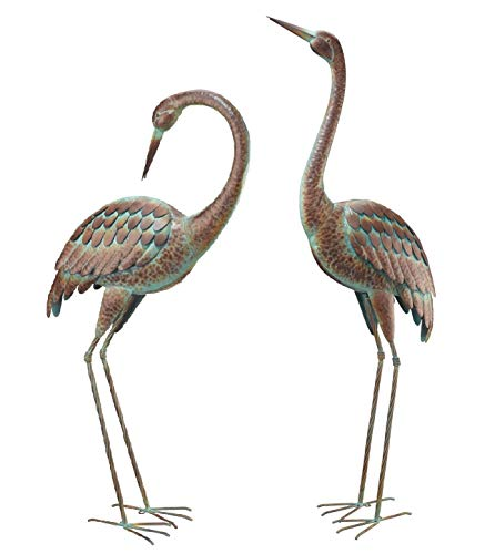 - Pair of Large Crane Sculptures ~ Standing & Preening ~