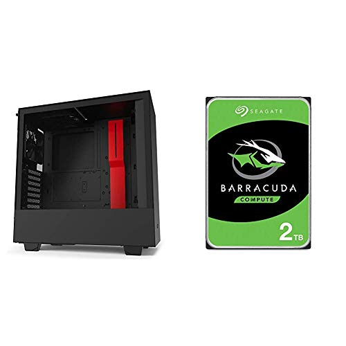 NZXT H510 - CA-H510B-BR - Compact ATX Mid-Tower PC Gaming Case - Black/Red & Seagate Barracuda 2TB Internal Hard Drive HDD – 3.5 Inch SATA 6Gb/s 7200 RPM 256MB Cache – Frustration Free Packaging