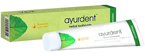 Ayurdent Toothpaste - Peppermint | 3.53 oz. | With Peelu & Neem | For Healthy Teeth & Gums | Natural Whitening | No Fluoride | No Sodium Lauryl (Peelu Gum Peppermint Sugar)