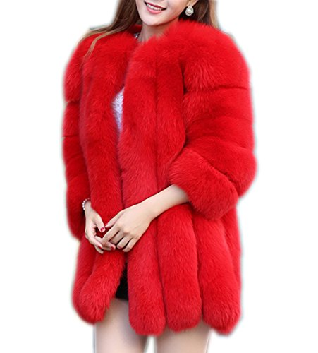 Women's Winter Thick Outerwear Warm Long Fox Faux Fur Coat red (Fox Fur Coat)