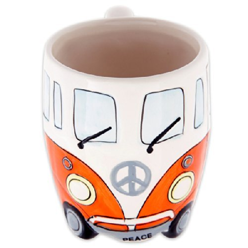 Volkswagen - Orange Ceramic Shaped Coffee Mug / Cup (VW Camper Van / Bully / T1) (Mugs Novelty Shaped)
