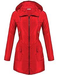 Womens Lightweight Travel Trench Waterproof Raincoat Hoodie Windproof Hiking Coat Packable Rain Jacket