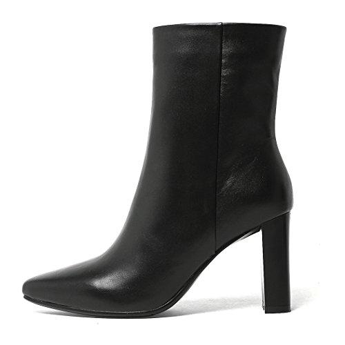 Boots Leder High ANNIESHOE Heels Damen mit Stiefeletten Absatz Ankle 7YYqdwH
