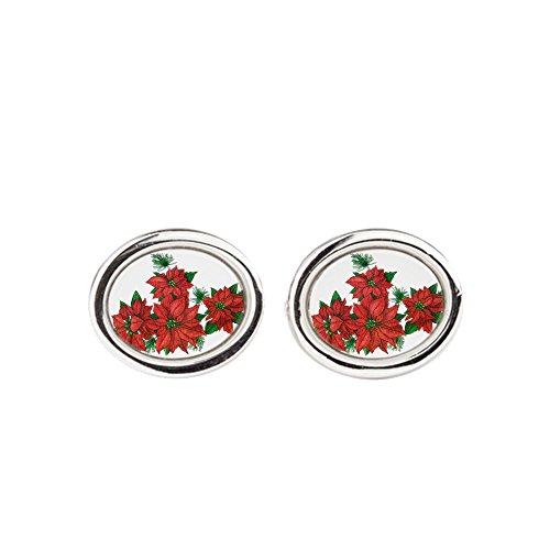 Royal Lion Cufflinks (Oval) Christmas Poinsettias