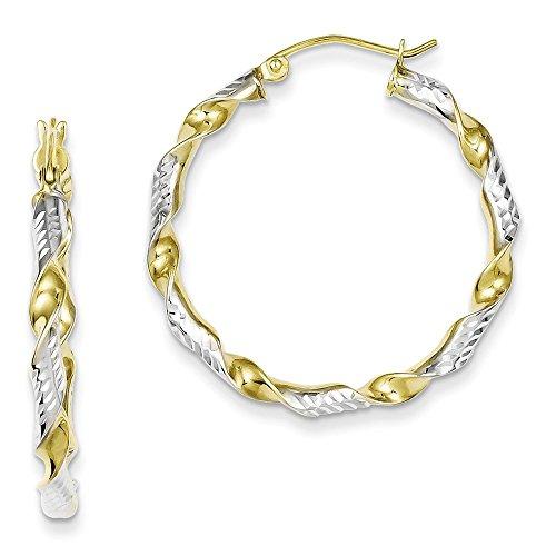 (Sterling Silver & Vermeil Diamond Cut 3mm Twisted Hoop Earrings Length 31mm)