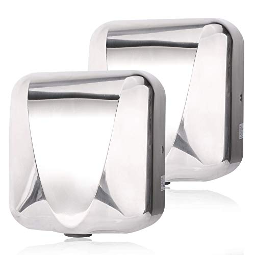 VALENS Hand Dryer Commercial for Bathroom, Automatic Hand Dryers 224 mph with HEPA Filter, High Speed 1800W, Hot or Cold Air Available, Polished Silver (2 pcs) (Times Valen)
