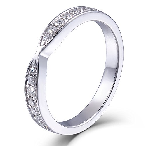 2.85MM Width Moissanite Diamond Half Eternity Anniversary Wedding Band Ring 925 Sterling Silver (8)