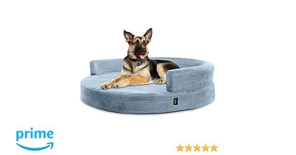 KOPEKS Sofa Redondo Cama Gris para Perro Perros Mascotas Extra Grande XL con Memoria Viscoelástica Colchón Ortopédico 127 cm Diámetro - Round Lounge ...