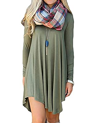 Dress for Women Tunics for Women T Shirt Dresses Shift Long Sleeve Casual Shirt Loose V-neck Frock by Azot
