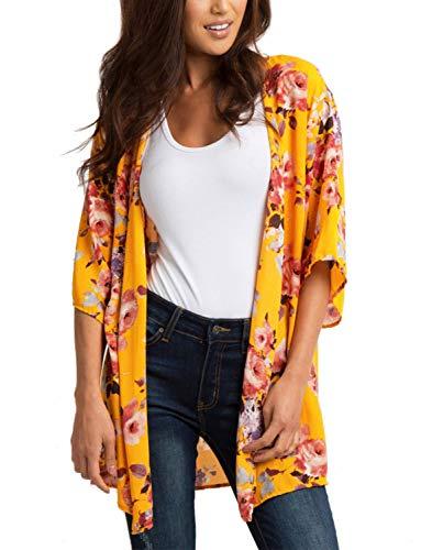 Women's Swimwear Cover Ups Dress Beach Swimsuit Bathing-Suit Bikini Kimono - Silk Top Floral