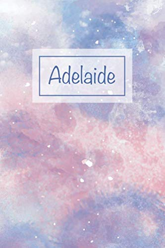 Adelaide: First Name Personalized Notebook, College Ruled (Lined) Journal, Cute Pastel Notepad with Marble Pattern for Girls, Teens and Women