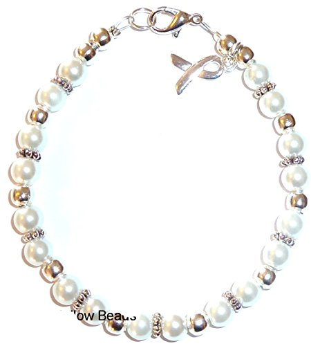 Bracelet, Lung Cancer Awareness or Fundraising Campaign, White Pearl by Hidden Hollow, (7 ¾ in.), 6mm ()