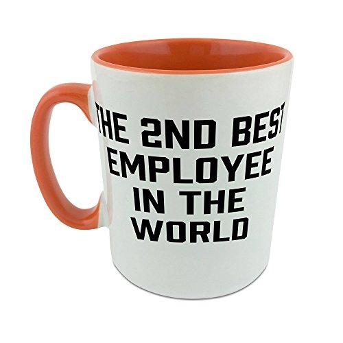 La 2nd mejor empleado en el mundo taza con naranja perchero de pared de interior