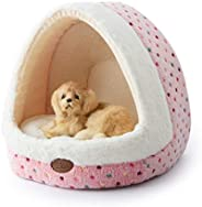 TOFERN Colorful Dots Patterns Striped Cute Pet Fleece Bed Puppy Small Medium Dog Cat Sleeping Igloo House Non-