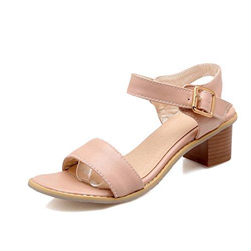 Pink Toe De Bloque Sandalias amp;x Qin Tacones Peep Mujer q8zFRg
