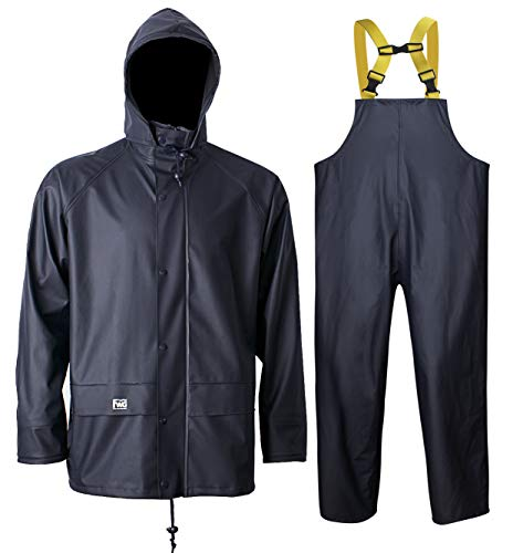 Rain Suit for Men Heavy Duty Workwear Waterproof Jacket with Pants 3 Pieces (Large, Navy)