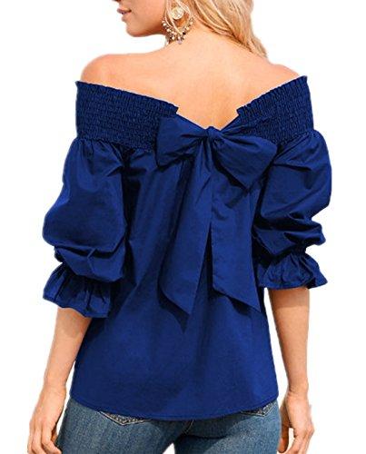 Bluse Tinta Unita a Shirt Manica Scollo Mezza Sciolto Camicie Shirts Blouse Tie T Donna Estate Blu con Moda Bow Barca Casual Camicetta TqxnUapzw