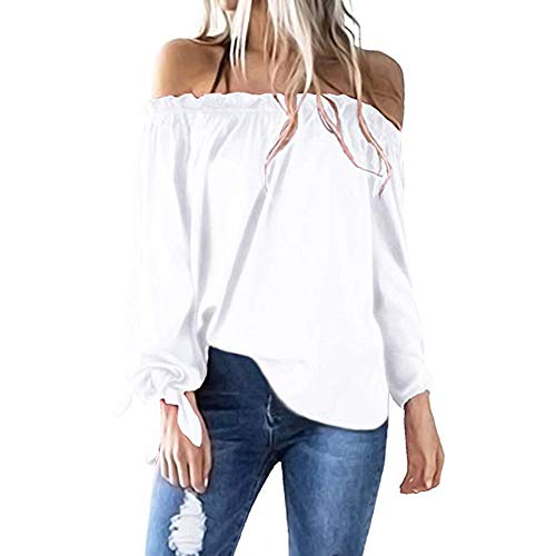 (Oasisocean Off Shoulder Tops, Women Casual Boat Neck Long Sleeve Sexy Cold Shoulder T-Shirt Tunic Top Blouse)