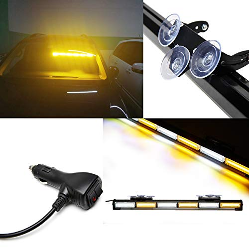 SmallFatW 27 Inch 6 COB LED Super Bright Windshield Dash Emergency Traffic Advisor Warning Strobe Light Bar with Suction Cups Especially Fit for Vehicles Trucks, Pick up, Jeep Wrangler (Amber/white) (Pickup Windshield)