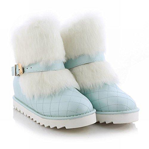 Mostra Brillare Moda Donna Fibbia Piattaforma Nascosta Tacco A Zeppa Stivali Corti Stivali Da Neve Azzurri