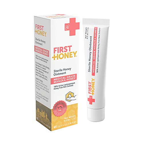 First Honey Sterile Honey Ointment 0.5oz Tube with 100% Medical Grade Manuka Honey for First Aid Treatment of Minor Burns, Wounds, and Cuts (Drug Free and Chemical Free)