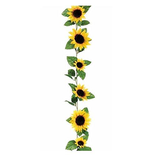 OOOUSE Silk Sunflower Flower Garland in Yellow - 6 Long