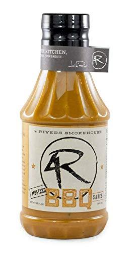 Mustard BBQ Sauce - Carolina BBQ Sauce - 4 Rivers Smokehouse Mustard Barbecue Sauce - Signature BBQ Mustard Sauce - 16 fl. oz.